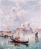 santa maria della salute with gondoliers on the grand canal by franz richard unterberger
