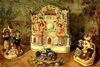 still life with porcelain figurines by sergei yur'evich sudeikin