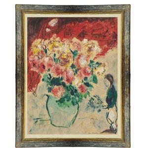 """etude pour """"les toits rouges"""" by marc chagall"""