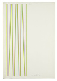 series 5a. pale blue, magenta and green by bridget riley