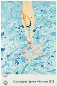 olympic diver poster by david hockney