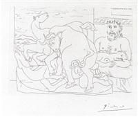 le repos du sculpteur devant les chevaux et un taureau by pablo picasso