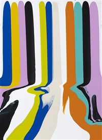 puddle painting white with broad lines by ian davenport