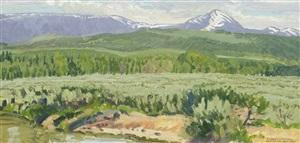 foothills at jackson, wyoming (jackson peak) by robert elmer lougheed