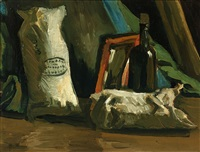 still life with two sacks and a bottle by vincent van gogh