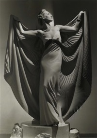 helen bennett with caped dress, paris by horst p. horst