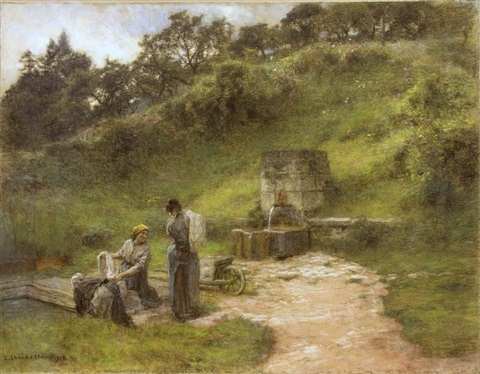 at the fountain, two laundresses by léon augustin lhermitte