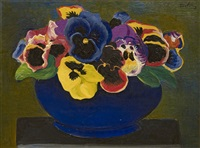 still life with pansies by moïse kisling