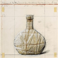 wrapped bottle (project for kirchberg spätlese) by christo and jeanne-claude
