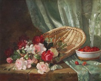 still life with roses and raspberries by abbott fuller graves