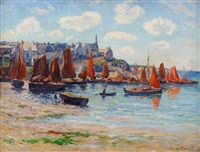le port de poulgoazec, bretagne by henry moret