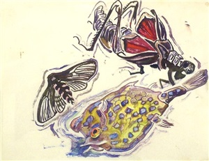 puffer fish, moth & grasshopper by walter inglis anderson