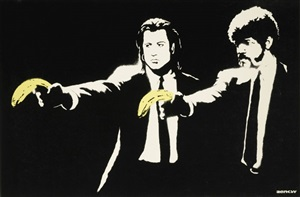 signed pulp fiction by banksy