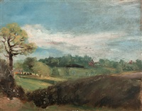 east bergholt common: view to the rectory from the fields behind golding constable's house by john constable