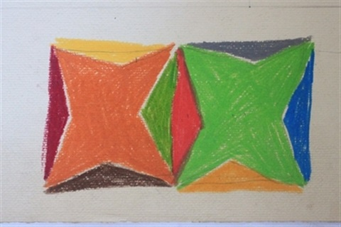 original crayon drawing design for ten color silkscreen by larry zox