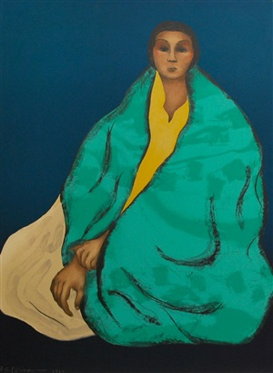 untitled (woman with green robe) by rudolph carl gorman
