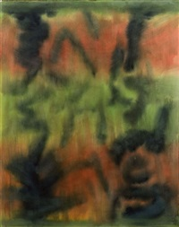untitled: abstract in greens and red by beauford delaney