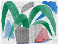 green grey & blue plant, july 1986 (diptych) by david hockney