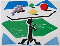 apples, grapes and lemon on a table by david hockney