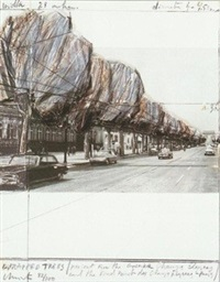 wrapped trees, project for the avenue de champs-elysees, paris ( five urban projects 1985) by christo and jeanne-claude