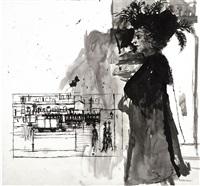 studie zu promenade la nuit by paul delvaux