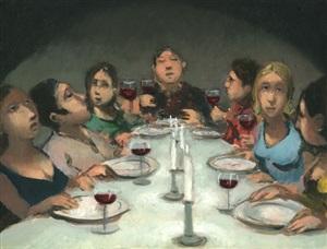 abendgesellschaft, die 3 stunden aufs essen wartet by johannes hüppi