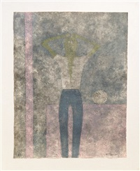 hombre con abrazos sobre la cabeza (man with arms over his head) by rufino tamayo