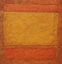 red, orange, orange on red, after mark rothko by vik muniz