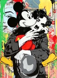 chaplin & mickey by mr. brainwash