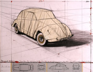 wrapped volkswagen (project for 1961 volkswagen beetle saloon) by christo and jeanne-claude