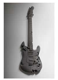 obsidian eroded guitar by daniel arsham