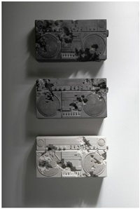 ash, rose quartz and obsidian eroded radios by daniel arsham