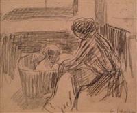 woman and child bath by henri lebasque