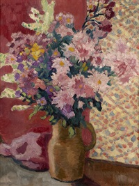 a flowerpiece in a vase by louis valtat