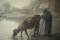 paysanne et sa vache au bord d'un étang by jean françois millet