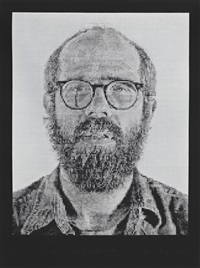 self portrait / white ink by chuck close