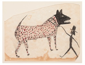 untitled (dog walking man) by bill traylor