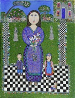 mother and children with lilies by dora holzhandler