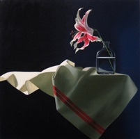 still life with lily on table cloth by bruce cohen