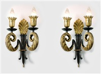 paire d'appliques en fer forgé patiné - pair of patinated wrought iron wall-sconces by gilbert poillerat