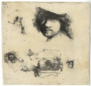 sheet of studies: head of the artist, a beggar couple, heads of an old man and old woman, etc. by rembrandt van rijn