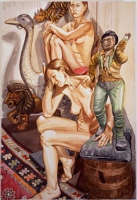 two nudes with lion, ostrich and minstrel by philip pearlstein
