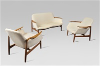 rare salon nv53 / rare teck sitting set nv53 by finn juhl