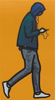 man in the rain with ipod by julian opie
