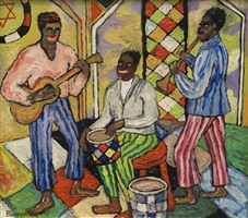 jazz concert in the old synagogue, lower east side new york by beauford delaney