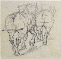 chevaux de trait (draft horses after géricault), by paul cézanne