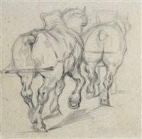 chevaux de trait (draft horses after géricault), by paul cézanne