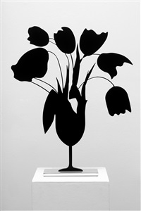 black tulips and vases by donald sultan