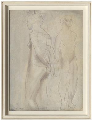 two figures (blue grey) by barbara hepworth