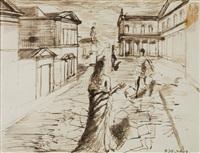 personnages dans un paysage d'architectur by paul delvaux